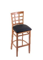 beech wood bar or counter stool shown in med finish, black vinyl seat