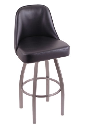 "Grizzly swivel sea bar, counterstool, metal base, black vinyl, 25, 30 or 36"" high seat"