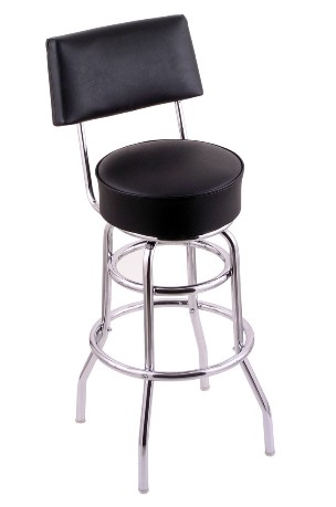 "swivel seat bar, counter stool with back, Chrome double ring base, upholstered seat & back 25 or 30"" seat ht"