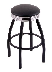 "2.5"" ribbed ring swivel seat bar stool, black wrinkle only; 25"" or 30"""