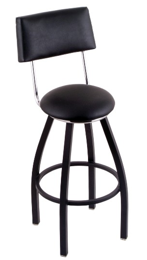 "swivel seat bar or counter stool, black base, upholstered seat & back 25 or 30"" seat ht"