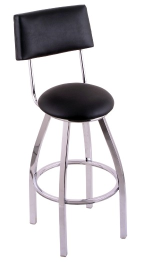 "unpholstered swivel seat bar or counter stool with back, chrome, 25 or 30"" seat ht"