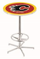 pub table with college, nhl or military logo