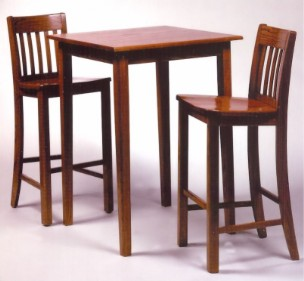 Oak mission pub table and mission bar stools