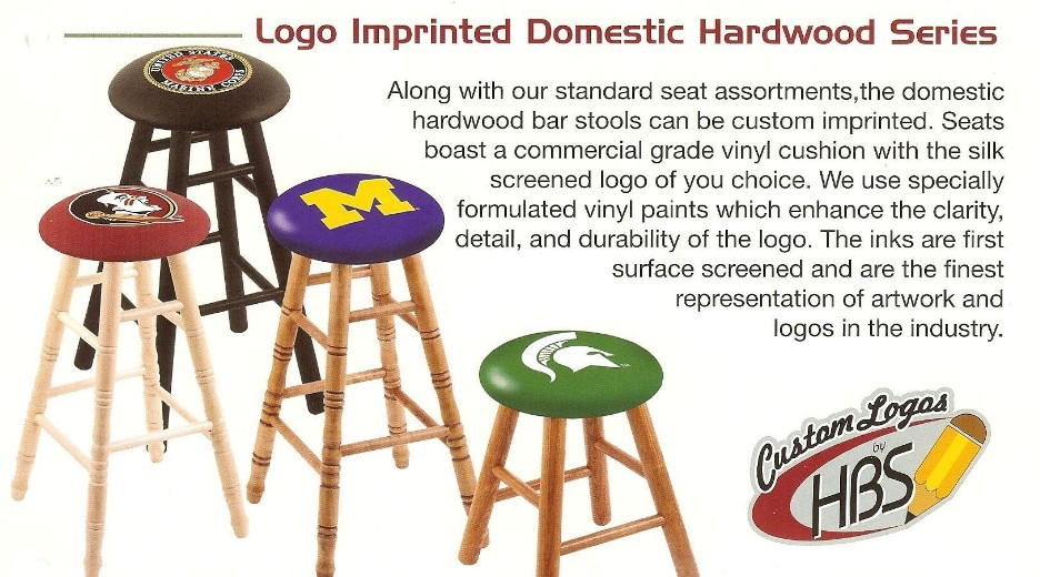 maple or oak bar, counter stools with logo seat